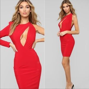 One shoulder red cut out dress